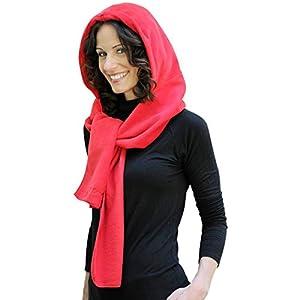 35 Degree Below Fleece Hooded Scarf - Red
