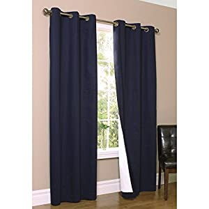 "Weathermate Solid Cotton Grommet Top Curtain (Set of 2) Size: 84"" H x 80"" W, Color: Navy"