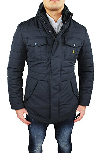 Giubbotto piumino uomo Refrigiwear art G64600 nero giubbotto invernale lungo Man's Jacket (L)