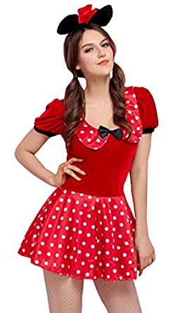 Moonight Women's Sexy Mouse Costume Polka Dots Dress
