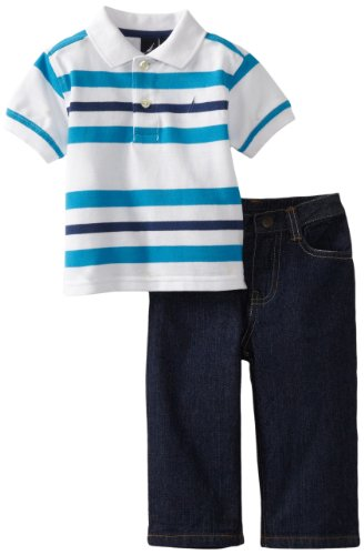 41ZTYM0kTnL Nautica Sportswear Youngsters Baby boys Infant Short Sleeve Striped Polo with Denim Pant, Sail White, 12 Months Evaluations