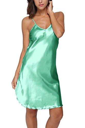 Original Kimono Women's Satin Spaghetti Strap Nightdress Nightgown Babydoll Green S (Spaghetti Strap Satin Dress compare prices)