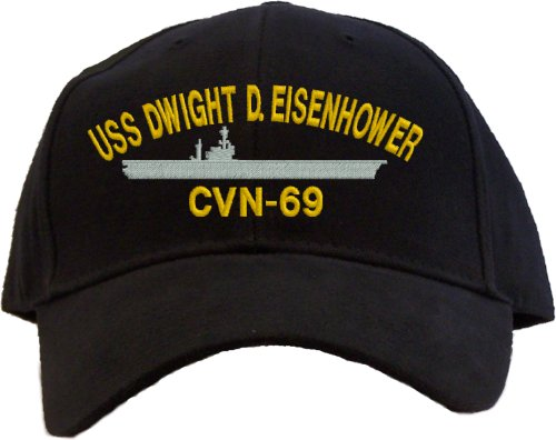 USS Dwight D. Eisenhower CVN-69 Embroidered Baseball Cap - Black (Uss Dwight D Eisenhower compare prices)