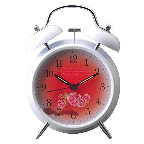 UQ Réveil matin Lumineux Blanc Rond Silencieux Double cloches La Tour Eiffel Rouge