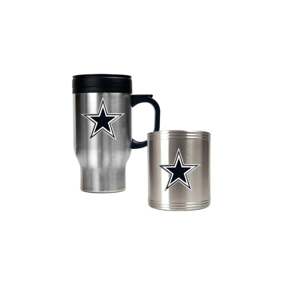 Dallas Cowboys NFL Travel Mug & Stainless Can Holder Set   Primary logo