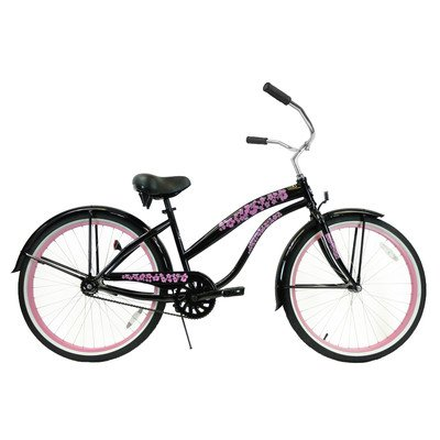 Women's Single Speed Premium Beach Cruiser Frame Color: Black with Pink Wheels