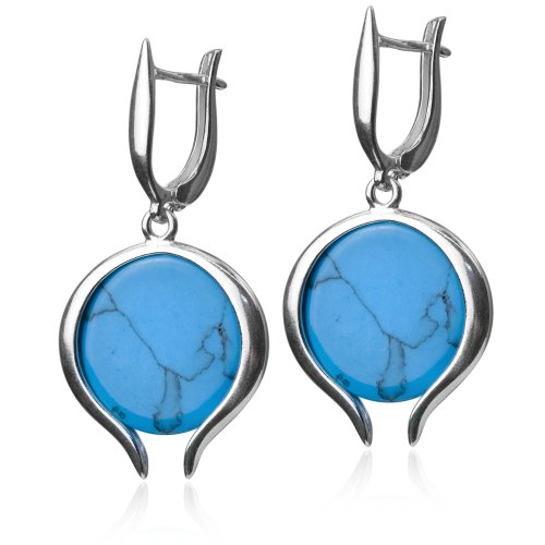 Sterling Silver Imitation Turquoise Round Earrings