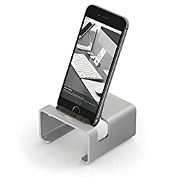 elago® M3 Stand [Silver / Authentic Walnut] - [Premium Aluminum][Hybrid Design][Optimal Angle] - for all iPhones, iPad Mini, Galaxy and other Smartphones