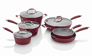 Fagor Michelle B. 10-Piece Induction Ready Forged Aluminum Cookware Set, Red