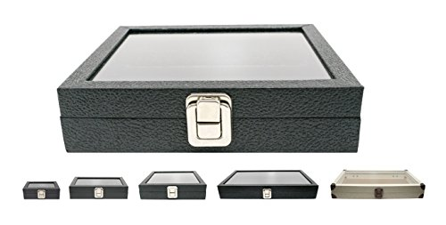Novel Box® Half-Size Glass Top Black Leatherette Metal Clasp Jewelry Display Case 8.25X7.25X2