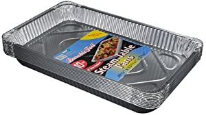 "Durable Packaging Aluminum Steam Table Pans, Full-Size, Medium, 12-3/4"" Length x 10-3/8"" Width x 2-3/16"" Depth (5 Bags of 10)"