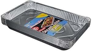 "Durable Packaging Aluminum Steam Table Pans, Full-Size, Medium, 12-3/4"" Length x 10-3/8"" Width x 2-3/16"" Depth (5 Bags of 10)"