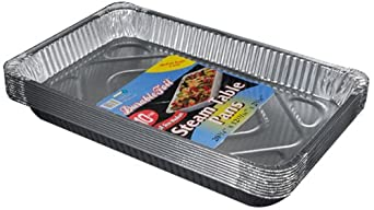 "Durable Packaging Aluminum Steam Table Pans, Full-Size, Medium, 2-3/16"" Pan Depth (5 Bags of 10)"