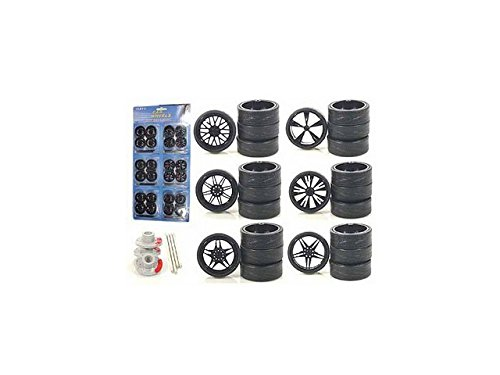 Diecast 2004B Custom Wheels for 1-18 Scale Cars & Trucks 24 Piece Wheels & Tires Set (1 24 Custom Wheels compare prices)