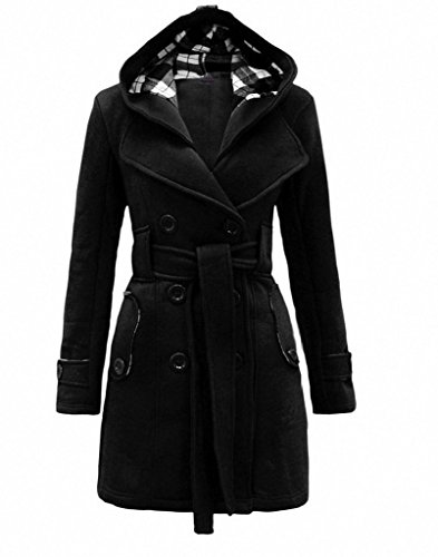 Women's Warm Fleece Hooded Double Breast Jacket with Belt Coat (Sexy Fur Coat)