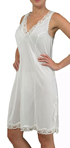 Ladies Luxury Full Slip Petticoat Chemise Sizes 12 - 26 White or Black (18, White)