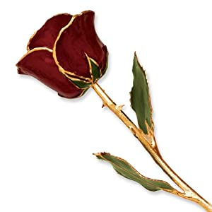 Lacquer Dipped Gold Trim Burgundy Rose Perfect Gift Idea
