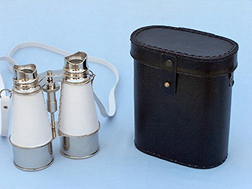 "Chrome Binoculars W/ White Leather Belt And Leather Case 6"" - Nautical Gift"
