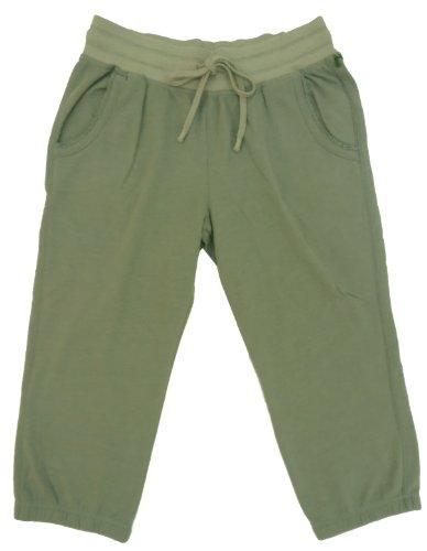 Womens Green Tea Fleece Elastic Leg Capris Small Pebble Grey