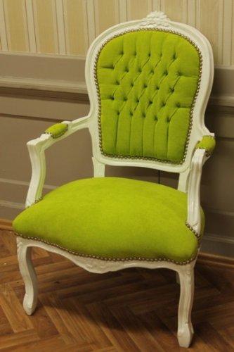 baroque armchair carved green velour velvet