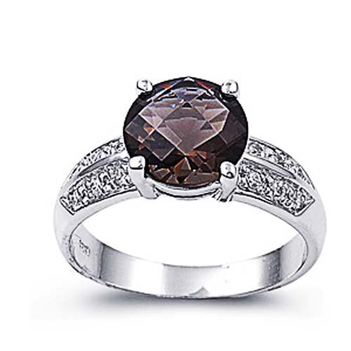 Little Treasures Rhodium Plated Sterling Silver Wedding & Engagement Ring Amethyst, Clear CZ Ladies Ring