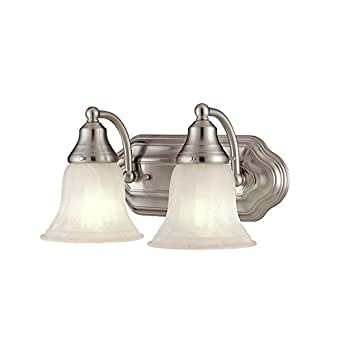 Two light bathroom light with white shades vanity for Bathroom light fixtures amazon