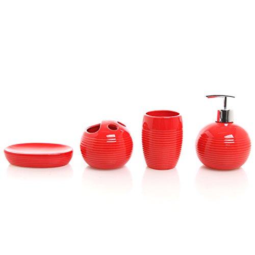 Bathroom Accessories Full Set : Piece red ceramic full bathroom accessory set
