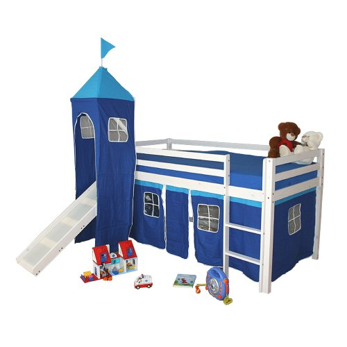 Homestyle4u Hochbett Kinderbett Kinder Kinderhochbett Lattenrost Spielbett Rutsche Turm Neu