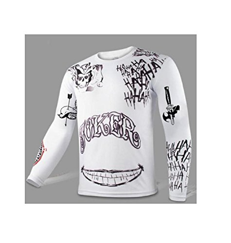 NEW! Suicide Squad Joker Tattoo Cosplay Long Sleeve Shirt Top Costume Halloween (M, White)