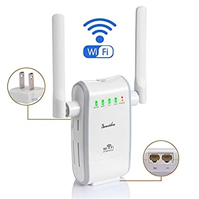 Seaidea Wifi Router 300Mbps Wireless Long Range Extender Repeater 802.11n/g/b Wireless-N Mini Network Amplifier Signal Booster Access Point Support AP Client and Bridge Modes Home Internet Service