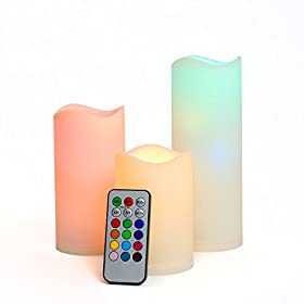 Set of 3 Color Changing LED Outdoor Battery Candles with Remote Control