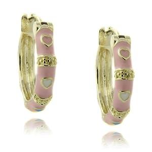 Lily Nily 18k Gold Overlay Pink Enamel Heart Design Children's Hoop Earrings