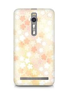 Amez designer printed 3d premium high quality back case cover for Asus Zenfone 2 (orange white blurr floral)