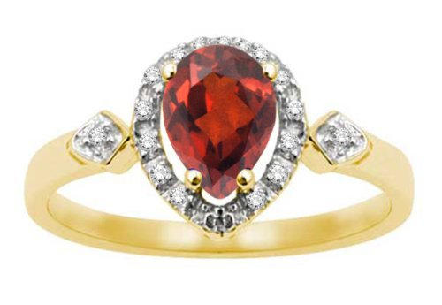 10k Yellow Gold, July Birthstone, LabCreated Ruby and Diamond Pear Shaped Ring, Size 6