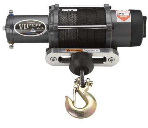 Viper Elite 4000Lb Utv Sxs Wide Spool Winch & Custom Mount Polaris Ranger With Black Amsteel®-Blue Synthetic Rope