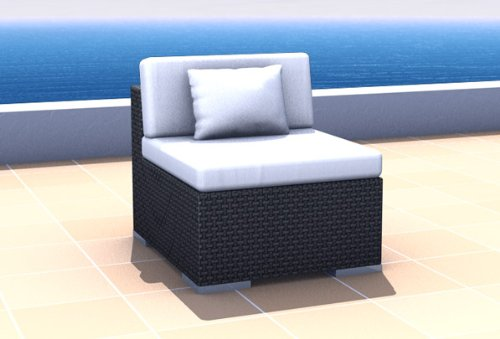 Resin Wicker Outdoor Furniture Sectional Middle Sofa ESPACE, black
