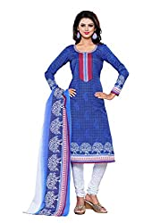SayShopp Fashion Women's Unstitched Regular Wear Cotton Printed Salwar Suit Dress Material (ZDM-16_Blue,White_Free Size)