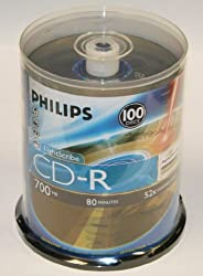 Philips LightScribe CD-R 52X 80Min 100PK Spindle