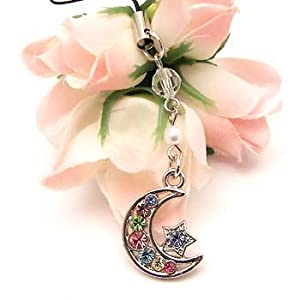 Multi Star & Moon Cell Phone Charm Strap Cubic Stone