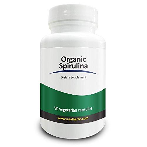 Real Herbs spirulina biologica, 750mg, anche conosciuta come la Polvere di alghe blu verde. Dosaggio più alto per capsula su Amazon, Supporta la funzione immunitaria, Migliora la saluta generale, 50 capsule vegetariane