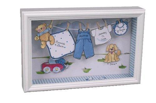 Imagen de Welcome New Baby Boy Tendedero recuerdo Shadow Caja