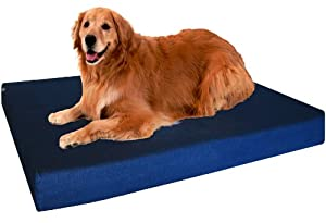 "Extra Large 40""X35""X4"" Orthopedic 100% Memory Foam Pad Pet Bed for Large Dog with heavy duty denim cover + Waterproof case + Free Bonus Cover"