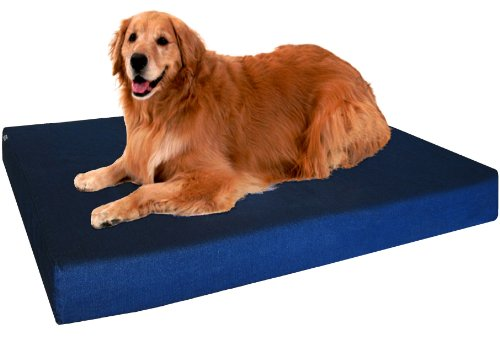 Heavy Duty Extra Large Orthopedic Memory Foam Waterproof Pet Bed With Strong Rewashable Denim Cover + Free Bonus Case