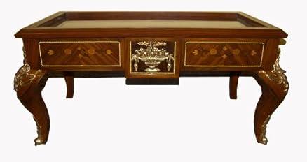 Art.QS02 Tavolino Bacheca da Salotto in Noce Intarsiato in Legni Nobili