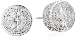 Sterling Silver Simulated Diamond Round 6mm Stud Earrings from PAJ, Inc