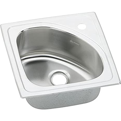 Elkay BLGR15151   Harmony Lustertone Stainless Steel 15-Inch Single Basin Top-Mount Bar Sink