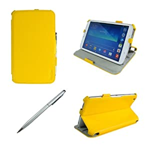 ProCase Samsung Galaxy Tab 3 8.0 Case bonus stylus pen included - Slim Fit Hard Folio Cover Case for Samsung Galaxy Tab 3 8.0 Inch Android Tablet, Built-in Stand, with Auto Sleep / Wake Feature SM-T3110 SM-T3100 (Yellow)