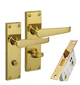 Carlisle brass victorian bathroom door handles 64mm for Brass bathroom door handles with lock