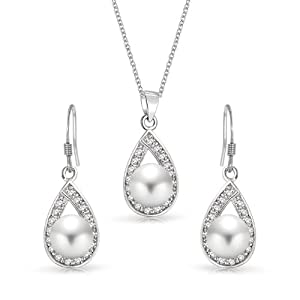 Bling Jewelry Great Gatsby Inspired Silver Freshwater Pearl Teardrop Bridal Set