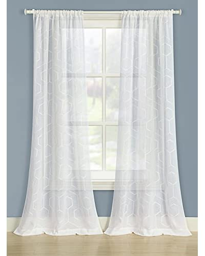 Laura Ashley Set of 2 Linton Window Curtains, White